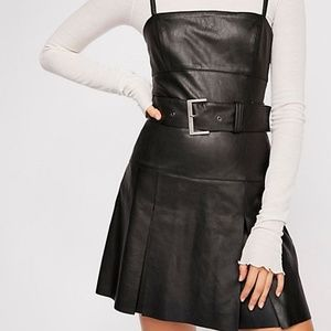Free People Sweet Talk Vegan Leather Mini Dress